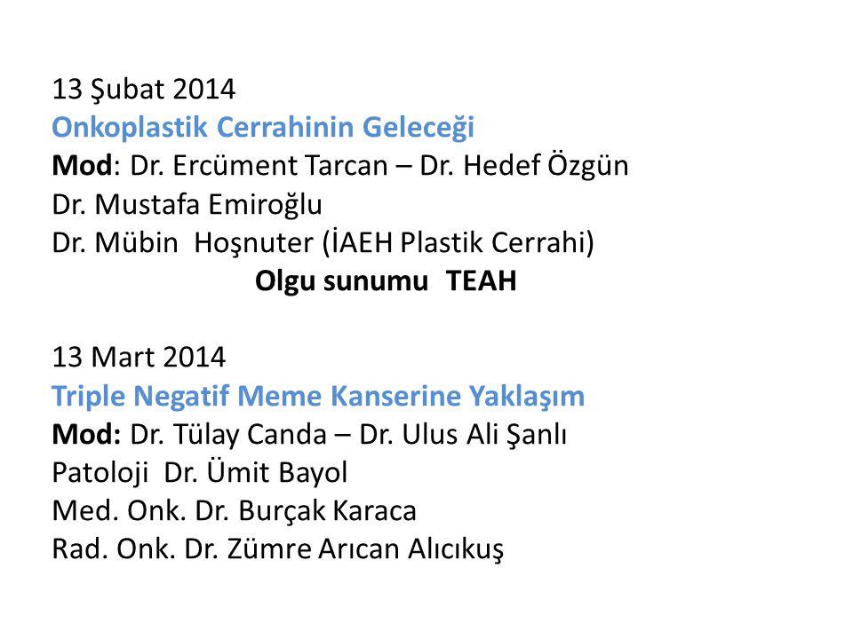 13 Şubat 2014 Onkoplastik Cerrahinin Geleceği Mod: Dr. Ercüment Tarcan – Dr. Hedef Özgün Dr. Mustafa Emiroğlu Dr. Mübin Hoşnuter (İAEH Plastik Cerrahi