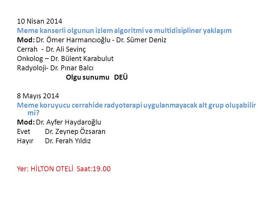 10 Nisan 2014 Meme kanserli olgunun izlem algoritmi ve multidisipliner yaklaşım Mod: Dr. Ömer Harmancıoğlu - Dr. Sümer Deniz Cerrah - Dr. Ali Sevinç O