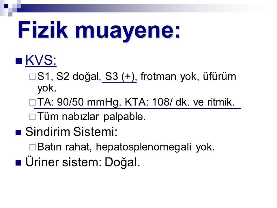 Fizik muayene: KVS:  S1, S2 doğal, S3 (+), frotman yok, üfürüm yok.  TA: 90/50 mmHg. KTA: 108/ dk. ve ritmik.  Tüm nabızlar palpable. Sindirim Sist