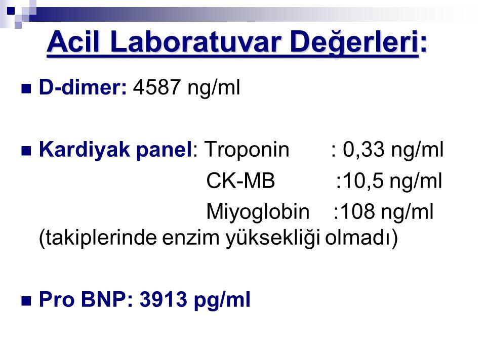 Acil Laboratuvar Değerleri: Acil Laboratuvar Değerleri: D-dimer: 4587 ng/ml Kardiyak panel: Troponin : 0,33 ng/ml CK-MB :10,5 ng/ml Miyoglobin :108 ng/ml (takiplerinde enzim yüksekliği olmadı) Pro BNP: 3913 pg/ml