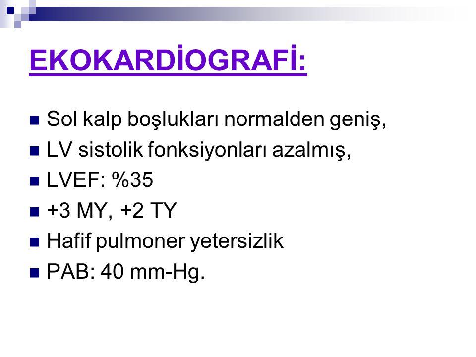 EKOKARDİOGRAFİ: Sol kalp boşlukları normalden geniş, LV sistolik fonksiyonları azalmış, LVEF: %35 +3 MY, +2 TY Hafif pulmoner yetersizlik PAB: 40 mm-Hg.