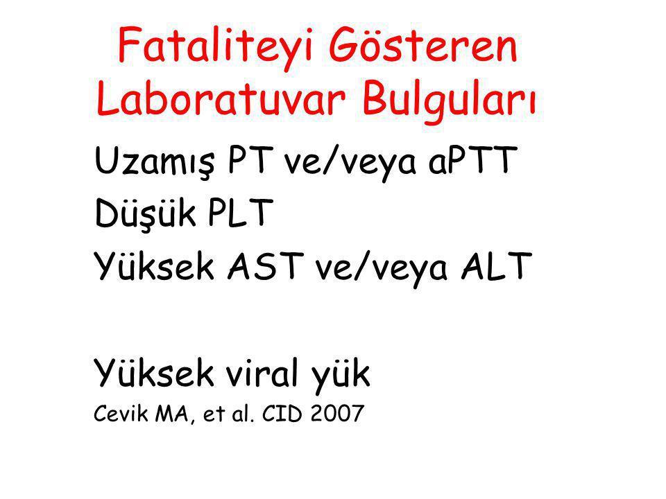 Fataliteyi Gösteren Laboratuvar Bulguları Uzamış PT ve/veya aPTT Düşük PLT Yüksek AST ve/veya ALT Yüksek viral yük Cevik MA, et al. CID 2007