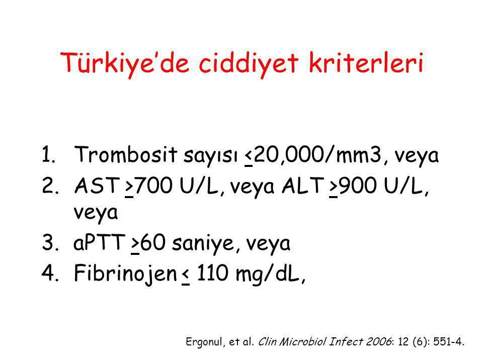Türkiye'de ciddiyet kriterleri 1.Trombosit sayısı <20,000/mm3, veya 2. AST >700 U/L, veya ALT >900 U/L, veya 3. aPTT >60 saniye, veya 4. Fibrinojen <