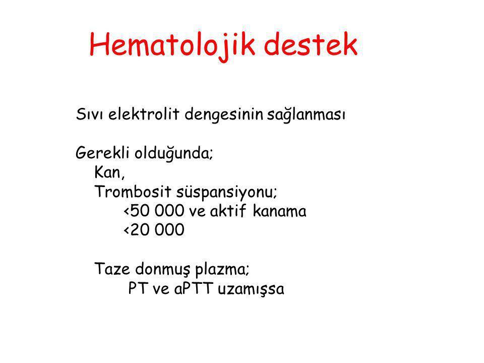 Hematolojik destek Sıvı elektrolit dengesinin sağlanması Gerekli olduğunda; Kan, Trombosit süspansiyonu; <50 000 ve aktif kanama <20 000 Taze donmuş p