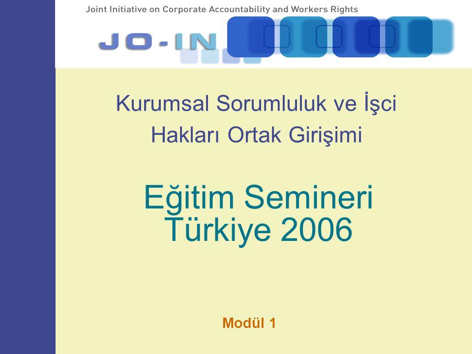 Kurumsal Sorumluluk ve İşci Hakları Ortak Girişimi Eğitim Semineri Türkiye 2006 Modül 1