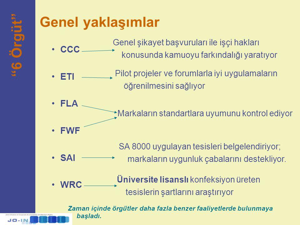 """Genel yaklaşımlar """"6 Örgüt"""" CCC ETI FLA FWF SAI WRC Genel şikayet başvuruları ile işçi hakları konusunda kamuoyu farkındalığı yaratıyor Pilot projeler"""