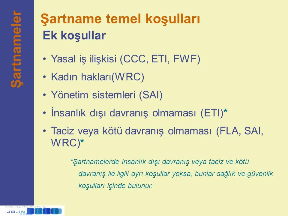 Yasal iş ilişkisi (CCC, ETI, FWF) Kadın hakları(WRC) Yönetim sistemleri (SAI) İnsanlık dışı davranış olmaması (ETI)* Taciz veya kötü davranış olmaması