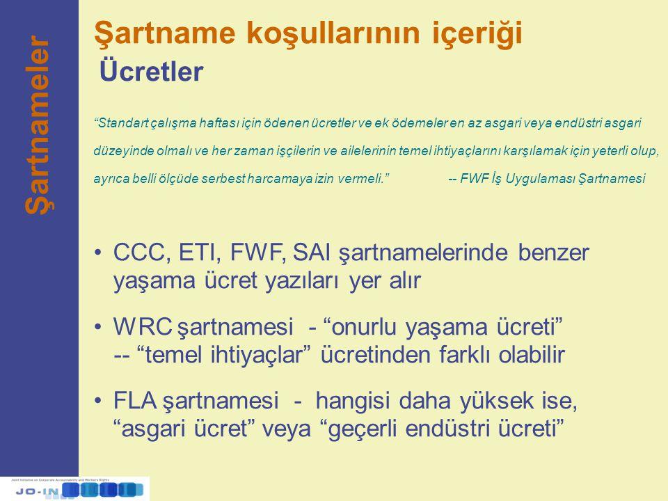 """CCC, ETI, FWF, SAI şartnamelerinde benzer yaşama ücret yazıları yer alır WRC şartnamesi - """"onurlu yaşama ücreti"""" -- """"temel ihtiyaçlar"""" ücretinden fark"""