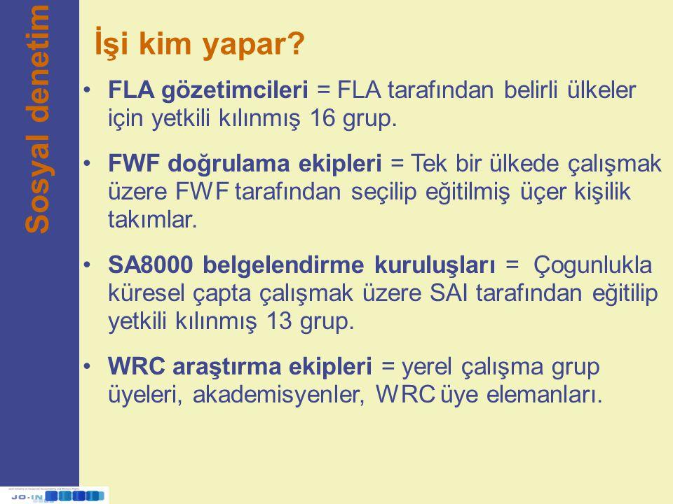 İşi kim yapar? Sosyal denetim FLA gözetimcileri = FLA tarafından belirli ülkeler için yetkili kılınmış 16 grup. FWF doğrulama ekipleri = Tek bir ülked