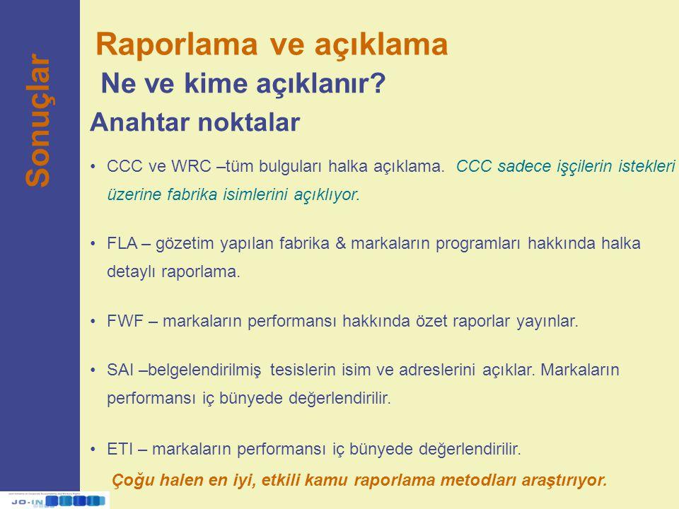 Raporlama ve açıklama Ne ve kime açıklanır? Sonuçlar Anahtar noktalar CCC ve WRC –tüm bulguları halka açıklama. CCC sadece işçilerin istekleri üzerine