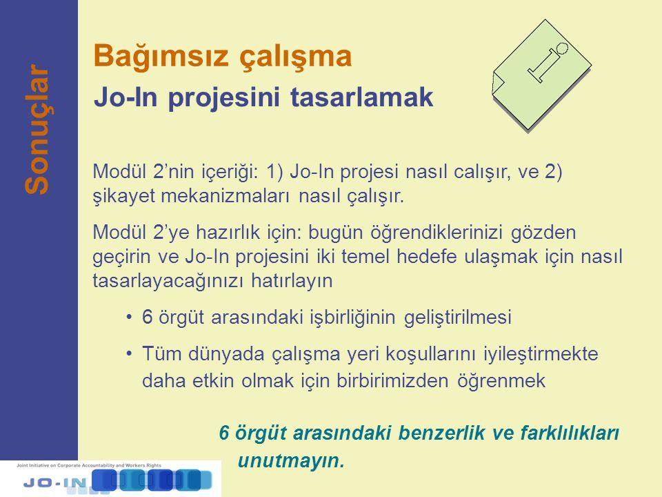 Modül 2'nin içeriği: 1) Jo-In projesi nasıl calışır, ve 2) şikayet mekanizmaları nasıl çalışır. Modül 2'ye hazırlık için: bugün öğrendiklerinizi gözde