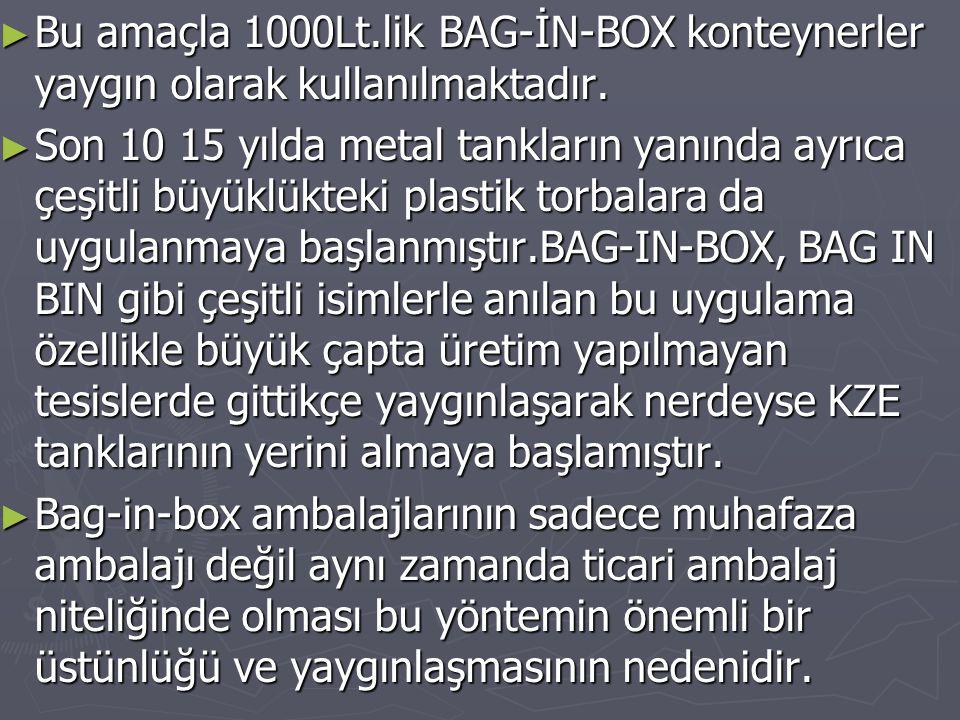 ► Bu amaçla 1000Lt.lik BAG-İN-BOX konteynerler yaygın olarak kullanılmaktadır. ► Son 10 15 yılda metal tankların yanında ayrıca çeşitli büyüklükteki p