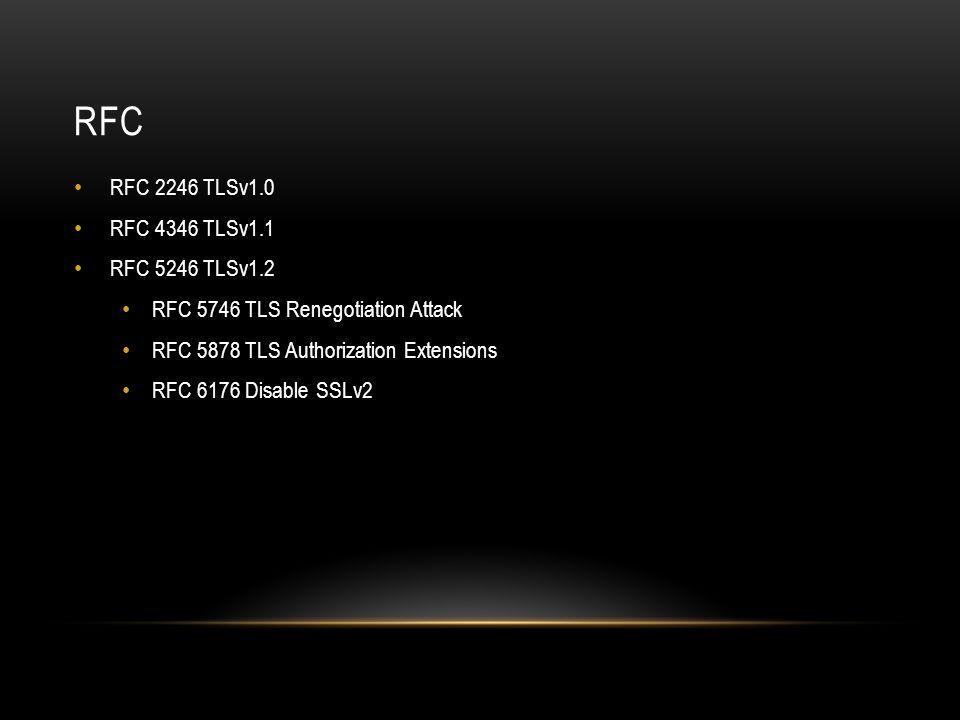 RFC RFC 2246 TLSv1.0 RFC 4346 TLSv1.1 RFC 5246 TLSv1.2 RFC 5746 TLS Renegotiation Attack RFC 5878 TLS Authorization Extensions RFC 6176 Disable SSLv2