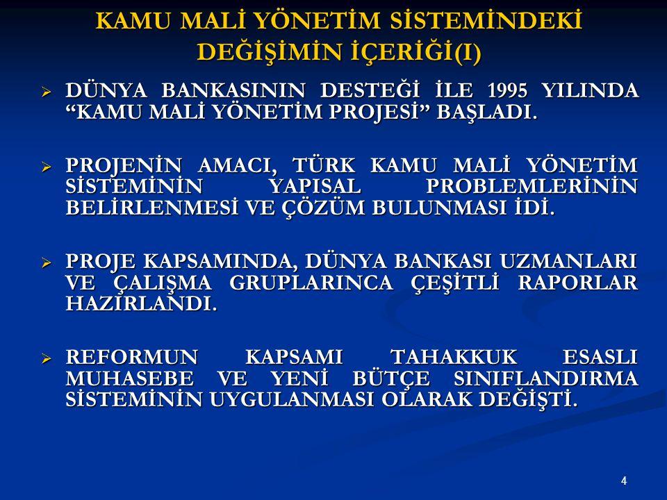 5 KAMU MALİ YÖNETİM SİSTEMİNDEKİ DEĞİŞİMİN İÇERİĞİ (II)  8.