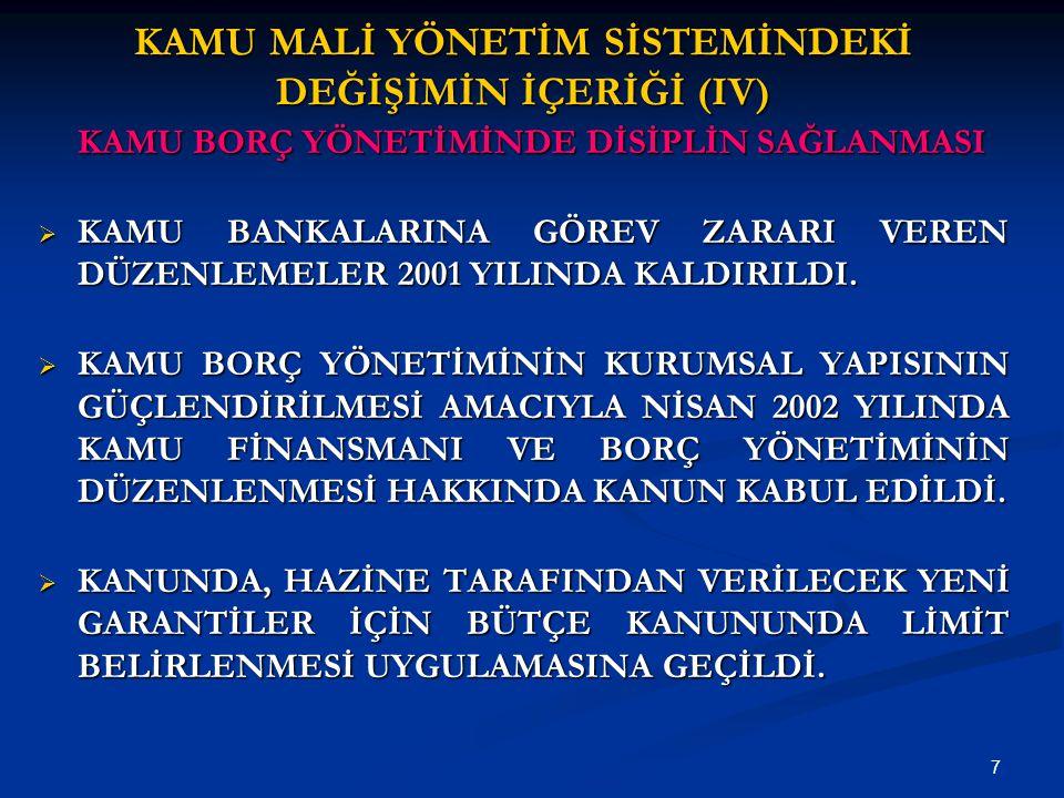 7 KAMU MALİ YÖNETİM SİSTEMİNDEKİ DEĞİŞİMİN İÇERİĞİ (IV) KAMU BORÇ YÖNETİMİNDE DİSİPLİN SAĞLANMASI  KAMU BANKALARINA GÖREV ZARARI VEREN DÜZENLEMELER 2001 YILINDA KALDIRILDI.
