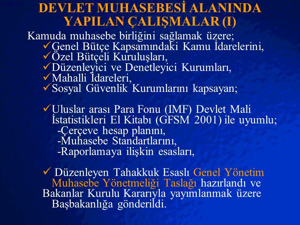 © 2403 By Default! A Free sample background from www.powerpointbackgrounds.com Slide 19 DEVLET MUHASEBESİ ALANINDA YAPILAN ÇALIŞMALAR (I) Kamuda muhas