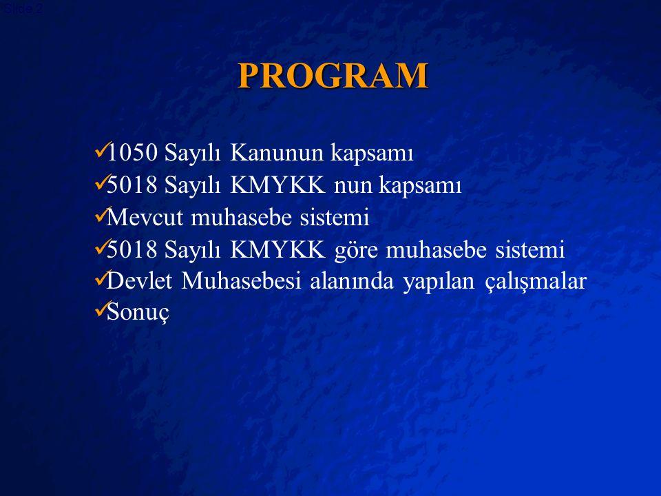 © 2403 By Default! A Free sample background from www.powerpointbackgrounds.com Slide 2 PROGRAM 1050 Sayılı Kanunun kapsamı 5018 Sayılı KMYKK nun kapsa
