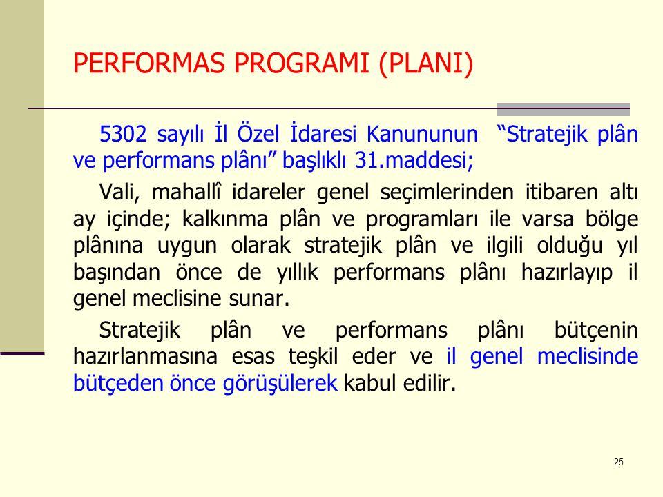 """25 PERFORMAS PROGRAMI (PLANI) 5302 sayılı İl Özel İdaresi Kanununun """"Stratejik plân ve performans plânı"""" başlıklı 31.maddesi; Vali, mahallî idareler g"""