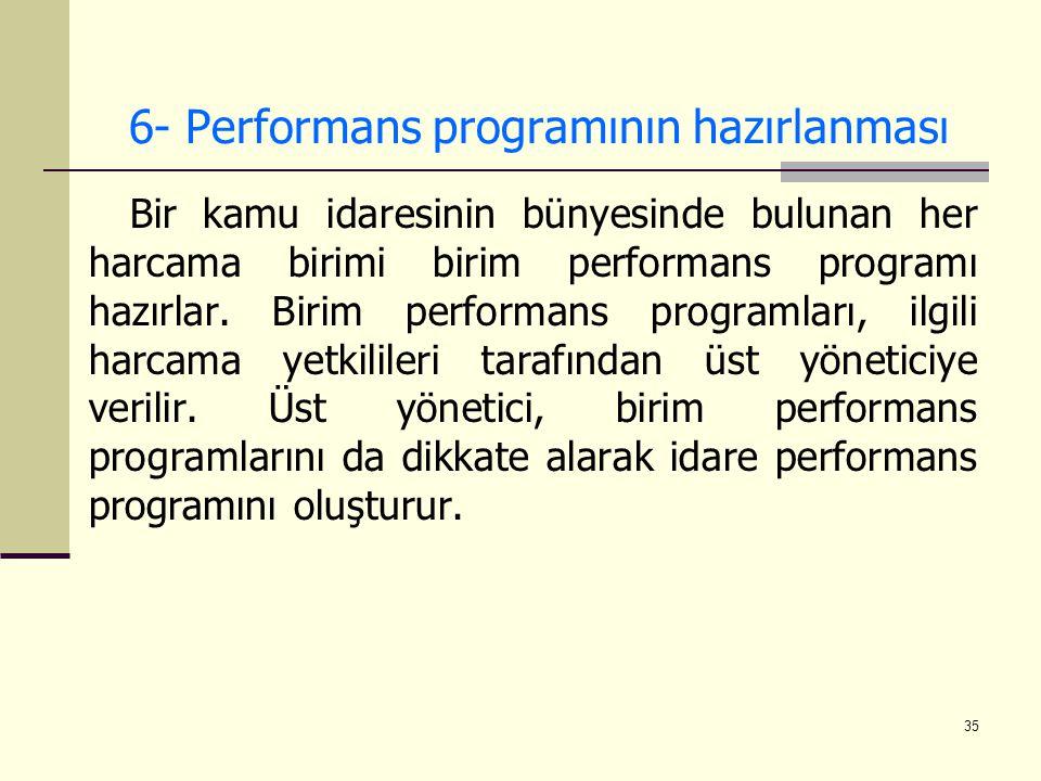 35 6- Performans programının hazırlanması Bir kamu idaresinin bünyesinde bulunan her harcama birimi birim performans programı hazırlar. Birim performa