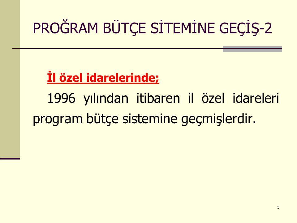 5 PROĞRAM BÜTÇE SİTEMİNE GEÇİŞ-2 İl özel idarelerinde; 1996 yılından itibaren il özel idareleri program bütçe sistemine geçmişlerdir.