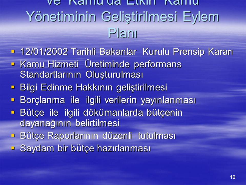 10 Türkiye'de Saydamlığın Artırılması ve Kamu'da Etkin Kamu Yönetiminin Geliştirilmesi Eylem Planı  12/01/2002 Tarihli Bakanlar Kurulu Prensip Kararı