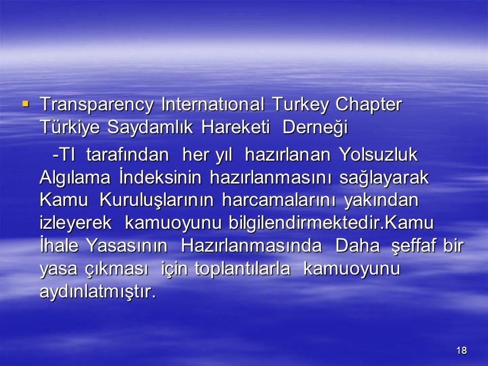 18  Transparency Internatıonal Turkey Chapter Türkiye Saydamlık Hareketi Derneği -TI tarafından her yıl hazırlanan Yolsuzluk Algılama İndeksinin hazı