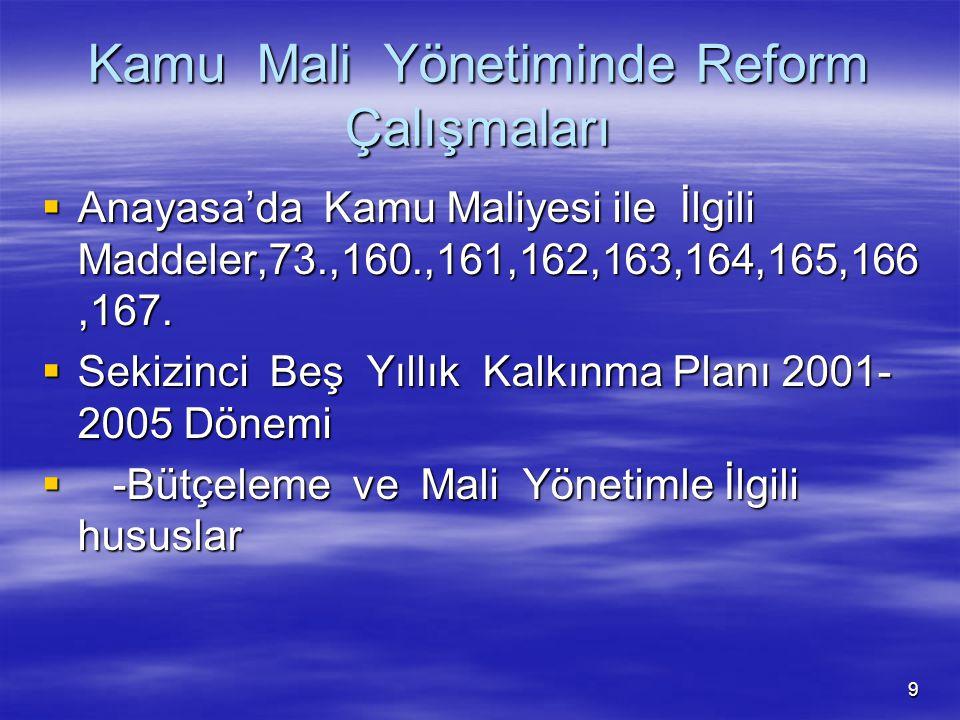 9 Kamu Mali Yönetiminde Reform Çalışmaları  Anayasa'da Kamu Maliyesi ile İlgili Maddeler,73.,160.,161,162,163,164,165,166,167.  Sekizinci Beş Yıllık