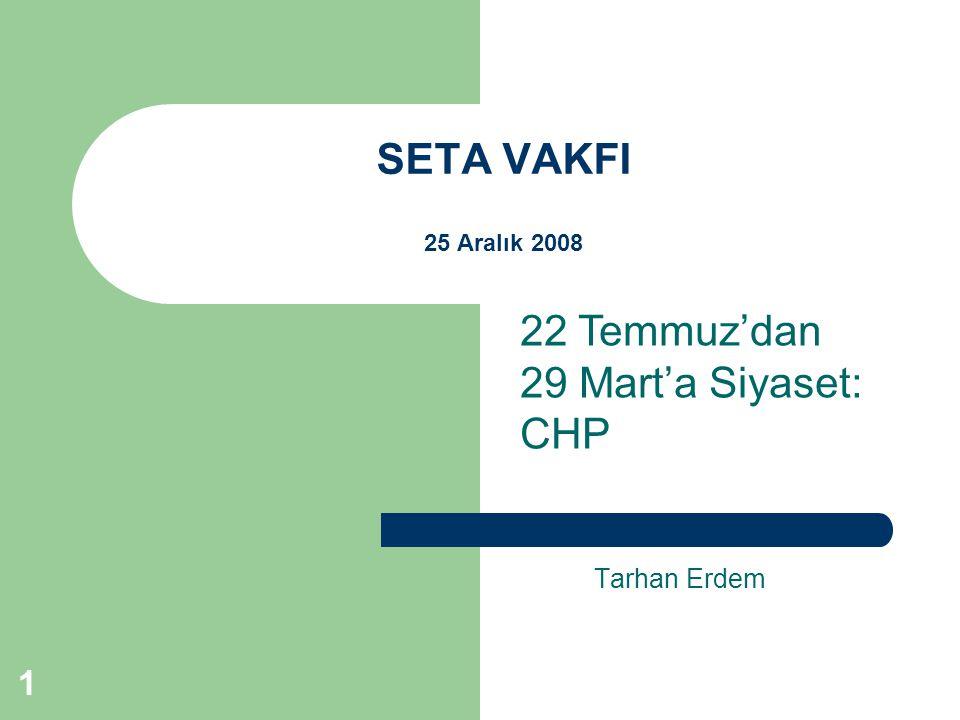 1 SETA VAKFI 25 Aralık 2008 Tarhan Erdem 22 Temmuz'dan 29 Mart'a Siyaset: CHP