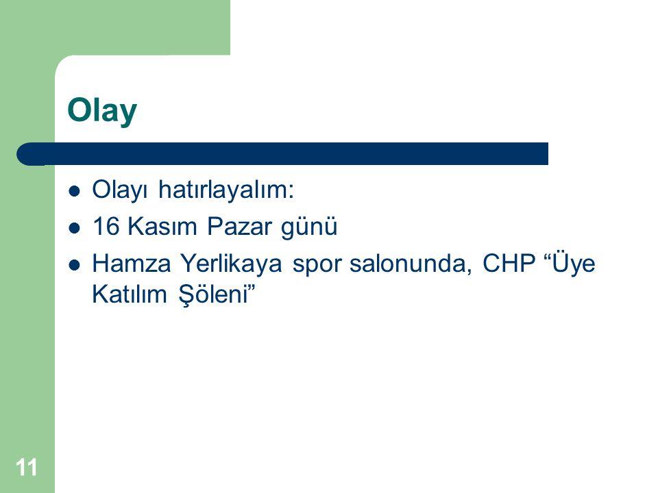 11 Olay Olayı hatırlayalım: 16 Kasım Pazar günü Hamza Yerlikaya spor salonunda, CHP Üye Katılım Şöleni