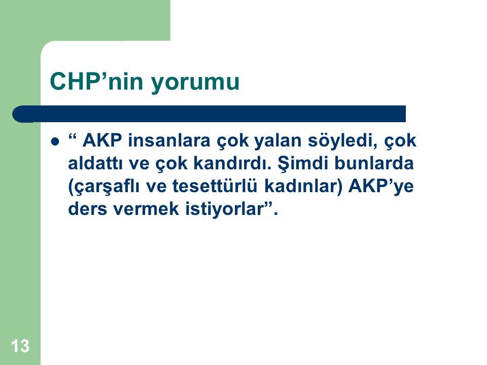 13 CHP'nin yorumu AKP insanlara çok yalan söyledi, çok aldattı ve çok kandırdı.