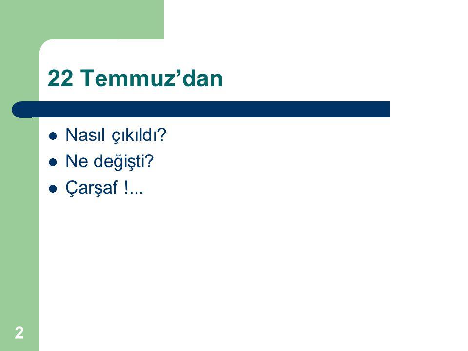 2 22 Temmuz'dan Nasıl çıkıldı Ne değişti Çarşaf !...
