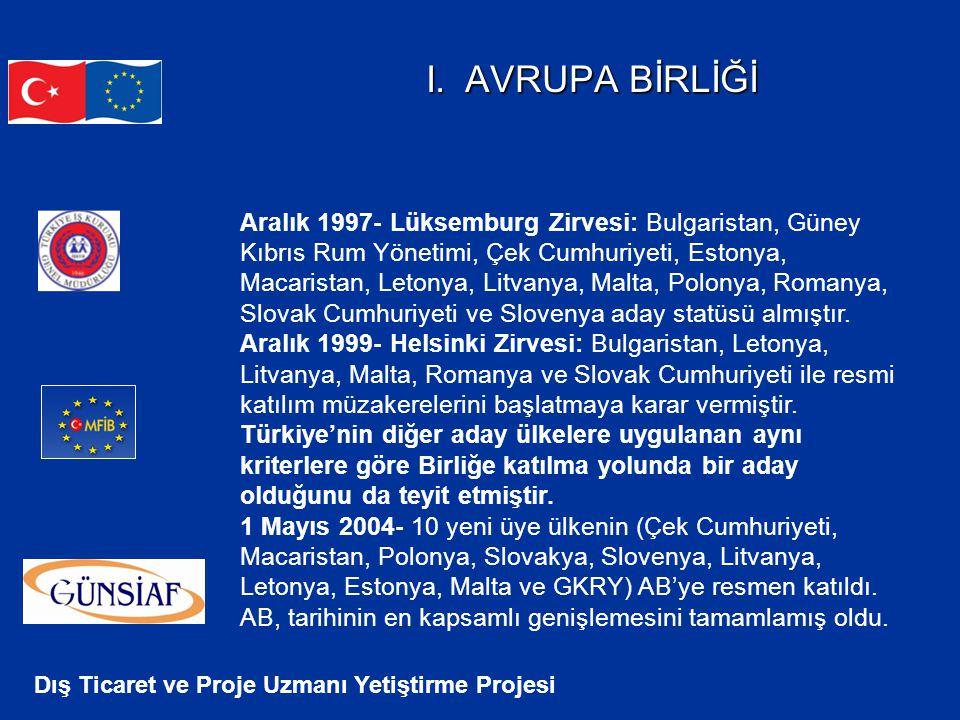 Dış Ticaret ve Proje Uzmanı Yetiştirme Projesi I. AVRUPA BİRLİĞİ Aralık 1997- Lüksemburg Zirvesi: Bulgaristan, Güney Kıbrıs Rum Yönetimi, Çek Cumhuriy