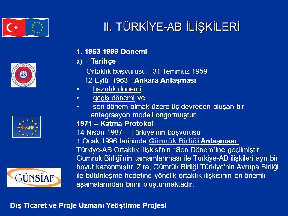 Dış Ticaret ve Proje Uzmanı Yetiştirme Projesi II. TÜRKİYE-AB İLİŞKİLERİ II. TÜRKİYE-AB İLİŞKİLERİ 1. 1963-1999 Dönemi a) Tarihçe Ortaklık başvurusu -