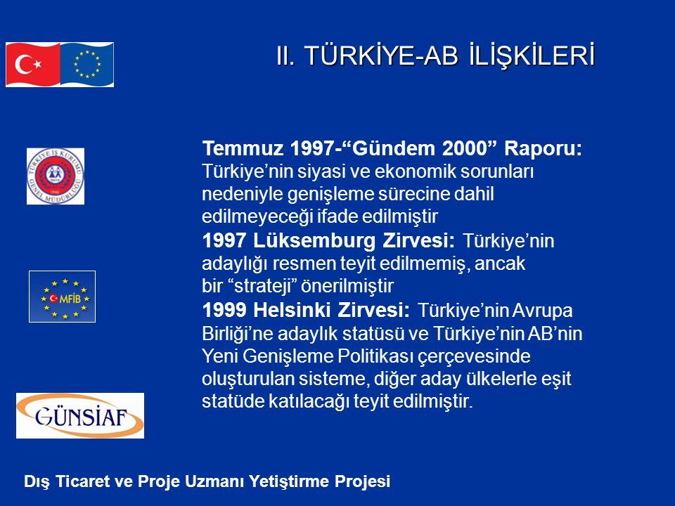 """Dış Ticaret ve Proje Uzmanı Yetiştirme Projesi II. TÜRKİYE-AB İLİŞKİLERİ Temmuz 1997-""""Gündem 2000"""" Raporu: Türkiye'nin siyasi ve ekonomik sorunları ne"""