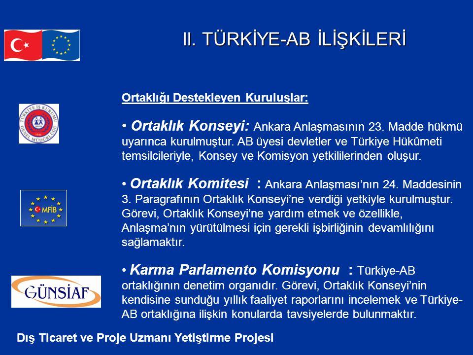 Dış Ticaret ve Proje Uzmanı Yetiştirme Projesi II. TÜRKİYE-AB İLİŞKİLERİ Ortaklığı Destekleyen Kuruluşlar: Ortaklık Konseyi: Ankara Anlaşmasının 23. M