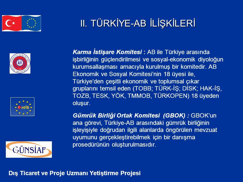 Dış Ticaret ve Proje Uzmanı Yetiştirme Projesi II. TÜRKİYE-AB İLİŞKİLERİ II. TÜRKİYE-AB İLİŞKİLERİ Karma İstişare Komitesi : AB ile Türkiye arasında i