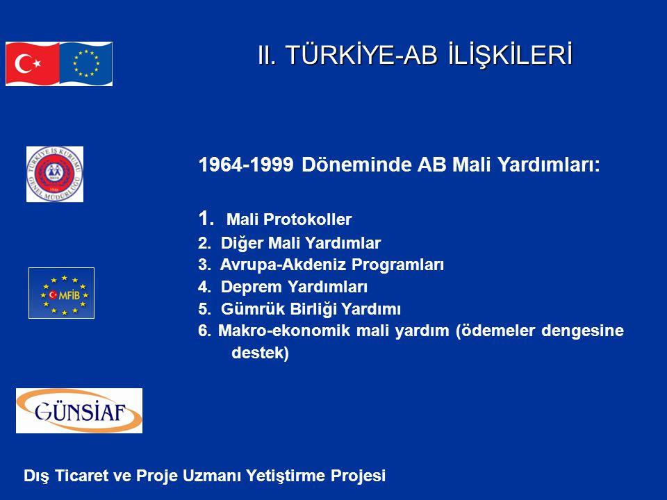 Dış Ticaret ve Proje Uzmanı Yetiştirme Projesi II. TÜRKİYE-AB İLİŞKİLERİ 1964-1999 Döneminde AB Mali Yardımları: 1. Mali Protokoller 2. Diğer Mali Yar