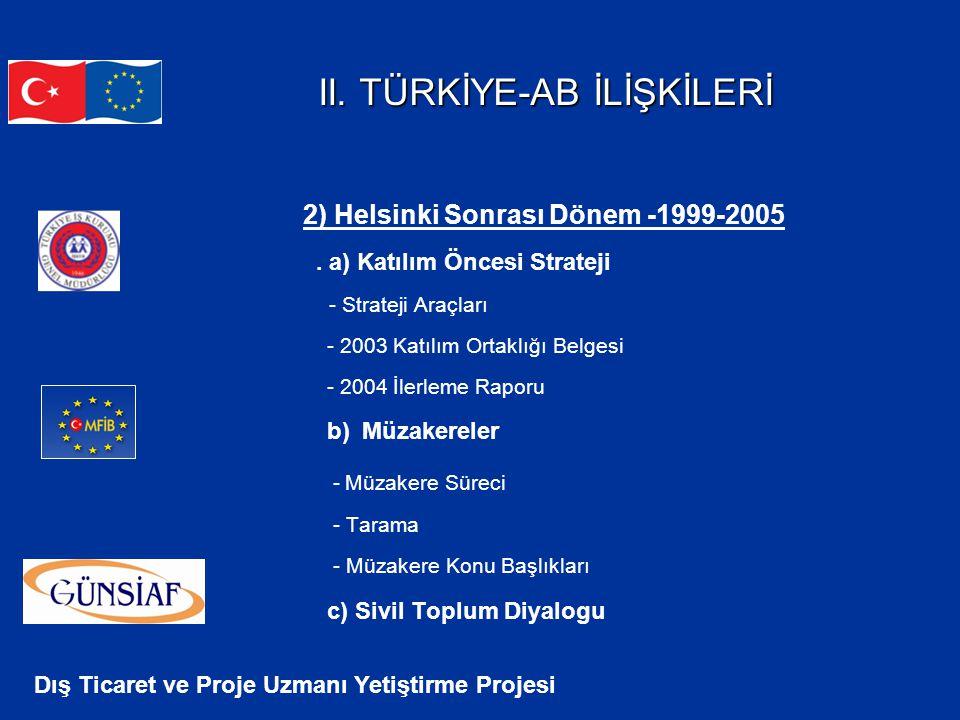 Dış Ticaret ve Proje Uzmanı Yetiştirme Projesi II. TÜRKİYE-AB İLİŞKİLERİ II. TÜRKİYE-AB İLİŞKİLERİ 2) Helsinki Sonrası Dönem -1999-2005. a) Katılım Ön