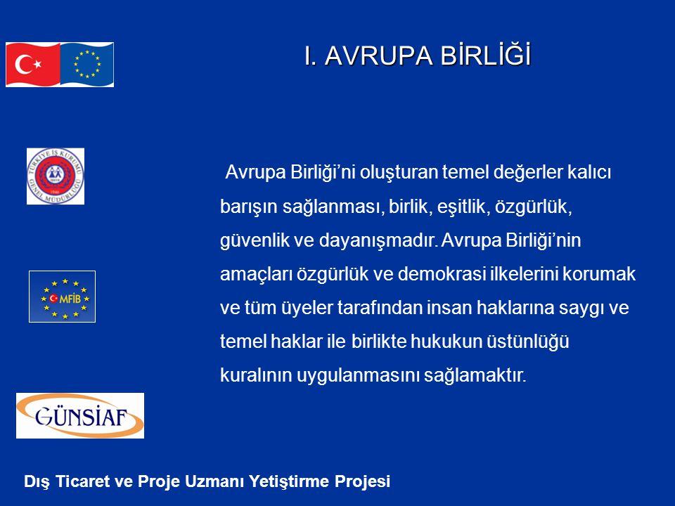 Dış Ticaret ve Proje Uzmanı Yetiştirme Projesi I. AVRUPA BİRLİĞİ Avrupa Birliği'ni oluşturan temel değerler kalıcı barışın sağlanması, birlik, eşitlik