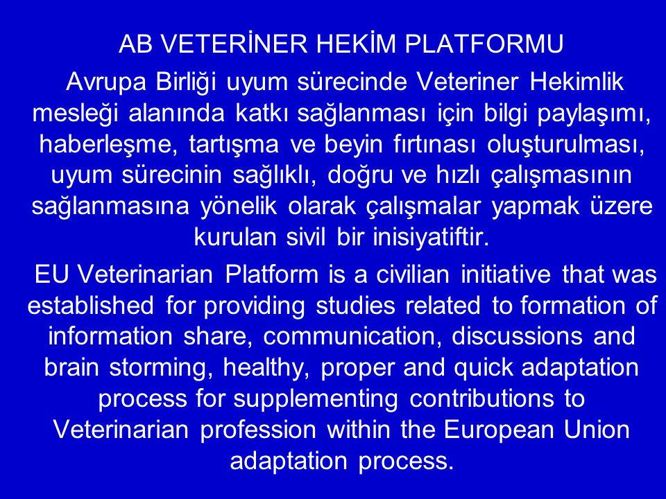 AB VETERİNER HEKİM PLATFORMU Avrupa Birliği uyum sürecinde Veteriner Hekimlik mesleği alanında katkı sağlanması için bilgi paylaşımı, haberleşme, tart