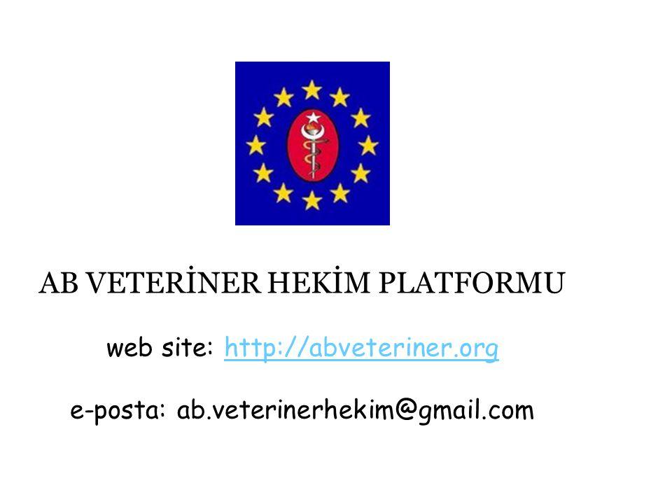 AB VETERİNER HEKİM PLATFORMU web site: http://abveteriner.org e-posta: ab.veterinerhekim@gmail.comhttp://abveteriner.org