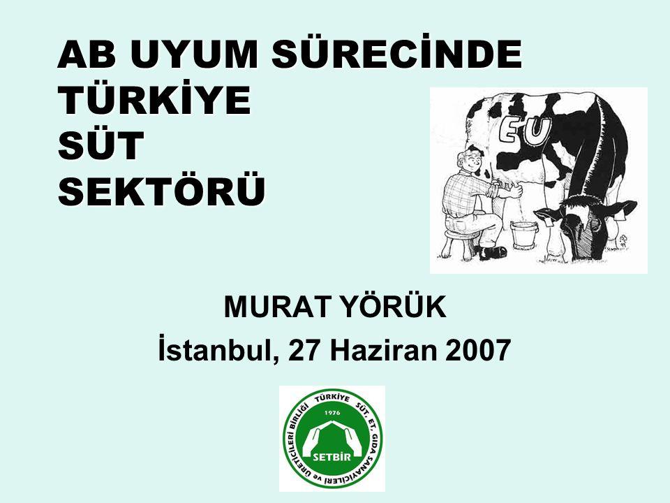 AB UYUM SÜRECİNDE TÜRKİYE SÜT SEKTÖRÜ MURAT YÖRÜK İstanbul, 27 Haziran 2007