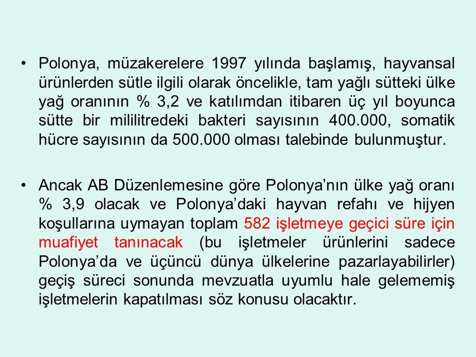 Polonya, müzakerelere 1997 yılında başlamış, hayvansal ürünlerden sütle ilgili olarak öncelikle, tam yağlı sütteki ülke yağ oranının % 3,2 ve katılımdan itibaren üç yıl boyunca sütte bir mililitredeki bakteri sayısının 400.000, somatik hücre sayısının da 500.000 olması talebinde bulunmuştur.