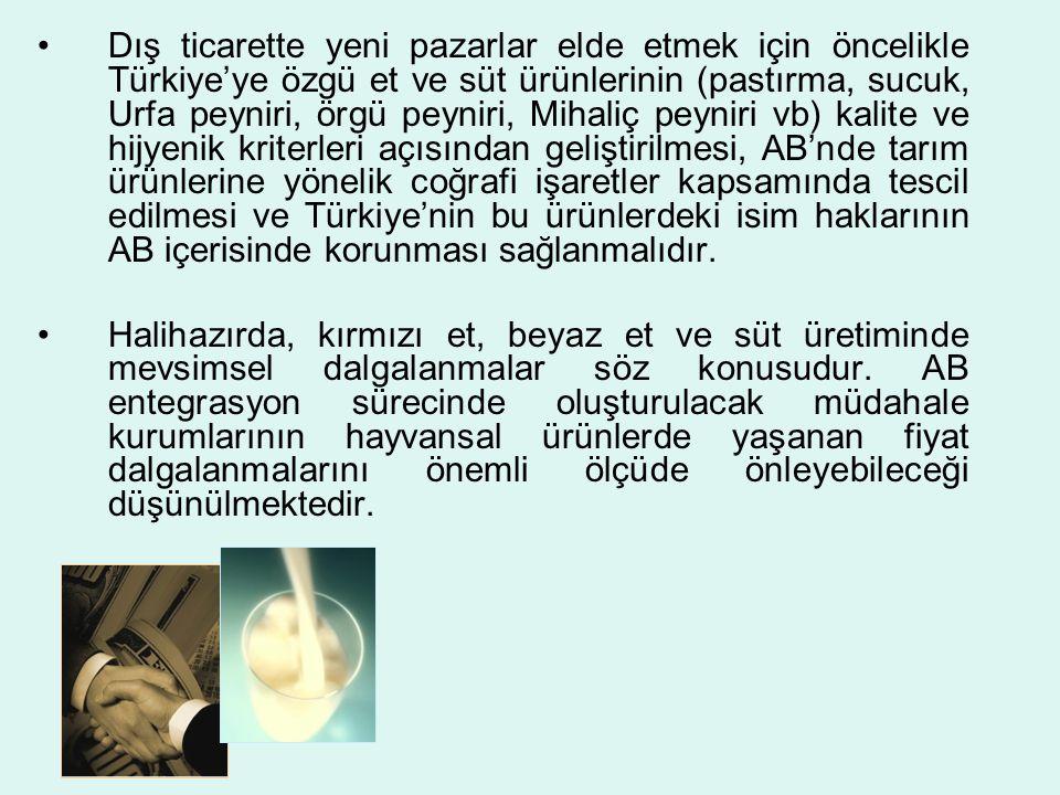 Dış ticarette yeni pazarlar elde etmek için öncelikle Türkiye'ye özgü et ve süt ürünlerinin (pastırma, sucuk, Urfa peyniri, örgü peyniri, Mihaliç peyniri vb) kalite ve hijyenik kriterleri açısından geliştirilmesi, AB'nde tarım ürünlerine yönelik coğrafi işaretler kapsamında tescil edilmesi ve Türkiye'nin bu ürünlerdeki isim haklarının AB içerisinde korunması sağlanmalıdır.