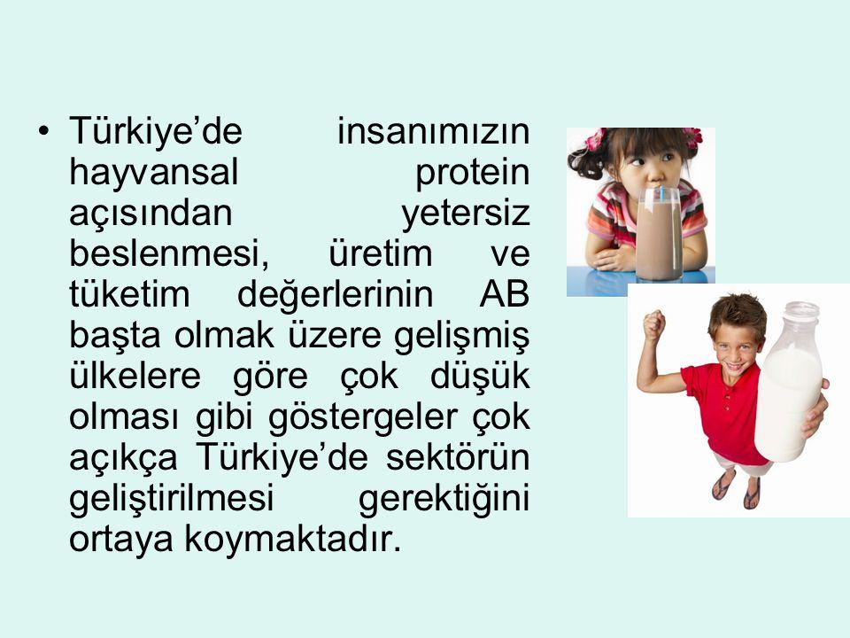 Türkiye'de Bazı Hayvan Türleri ve Yıllara Göre Sağılan Hayvan Sayıları, Süt Üretimi ve Sağılan Hayvan Başına Ortalama Verimler Kaynak : Türkiye İstatistik Kurumu 1990200020042005 Sağılan İnek Sayısı (Adet)5 892 5505 279 5693 875 7213 998 097 Üretim (bin ton)7 9608 7329 60910 026 Ort.