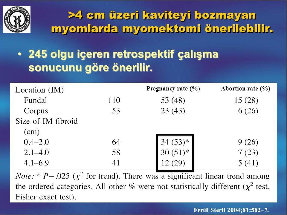 >4 cm üzeri kaviteyi bozmayan myomlarda myomektomi önerilebilir. 245 olgu içeren retrospektif çalışma sonucunu göre önerilir.245 olgu içeren retrospek