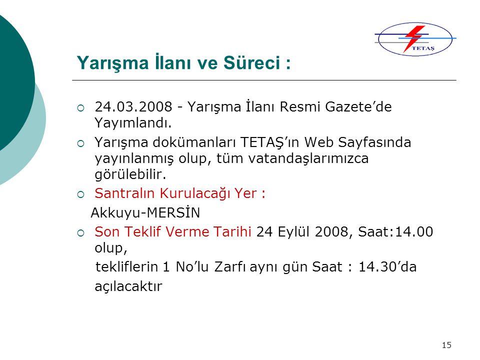 15 Yarışma İlanı ve Süreci :  24.03.2008 - Yarışma İlanı Resmi Gazete'de Yayımlandı.  Yarışma dokümanları TETAŞ'ın Web Sayfasında yayınlanmış olup,