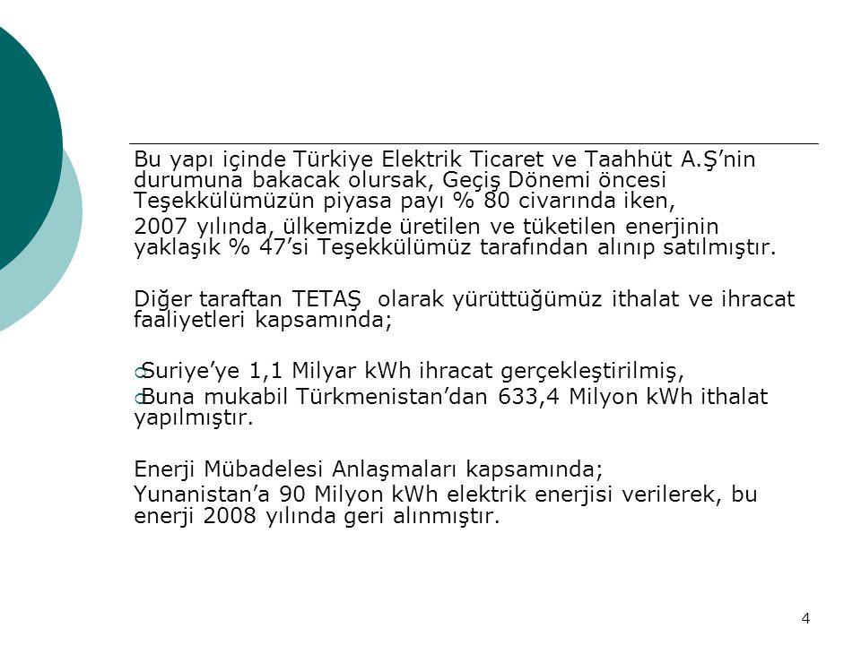4 Bu yapı içinde Türkiye Elektrik Ticaret ve Taahhüt A.Ş'nin durumuna bakacak olursak, Geçiş Dönemi öncesi Teşekkülümüzün piyasa payı % 80 civarında iken, 2007 yılında, ülkemizde üretilen ve tüketilen enerjinin yaklaşık % 47'si Teşekkülümüz tarafından alınıp satılmıştır.