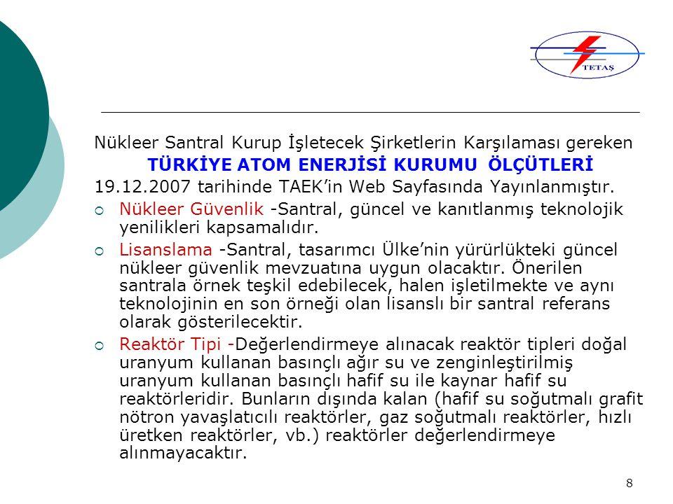 8 Nükleer Santral Kurup İşletecek Şirketlerin Karşılaması gereken TÜRKİYE ATOM ENERJİSİ KURUMU ÖLÇÜTLERİ 19.12.2007 tarihinde TAEK'in Web Sayfasında Yayınlanmıştır.