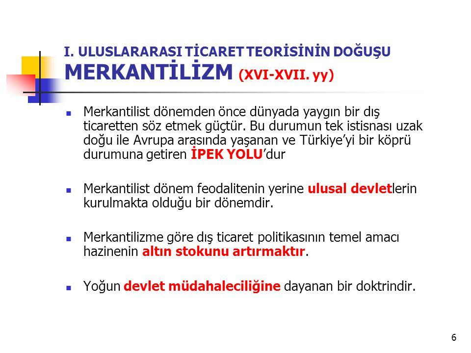 6 I.ULUSLARARASI TİCARET TEORİSİNİN DOĞUŞU MERKANTİLİZM (XVI-XVII.